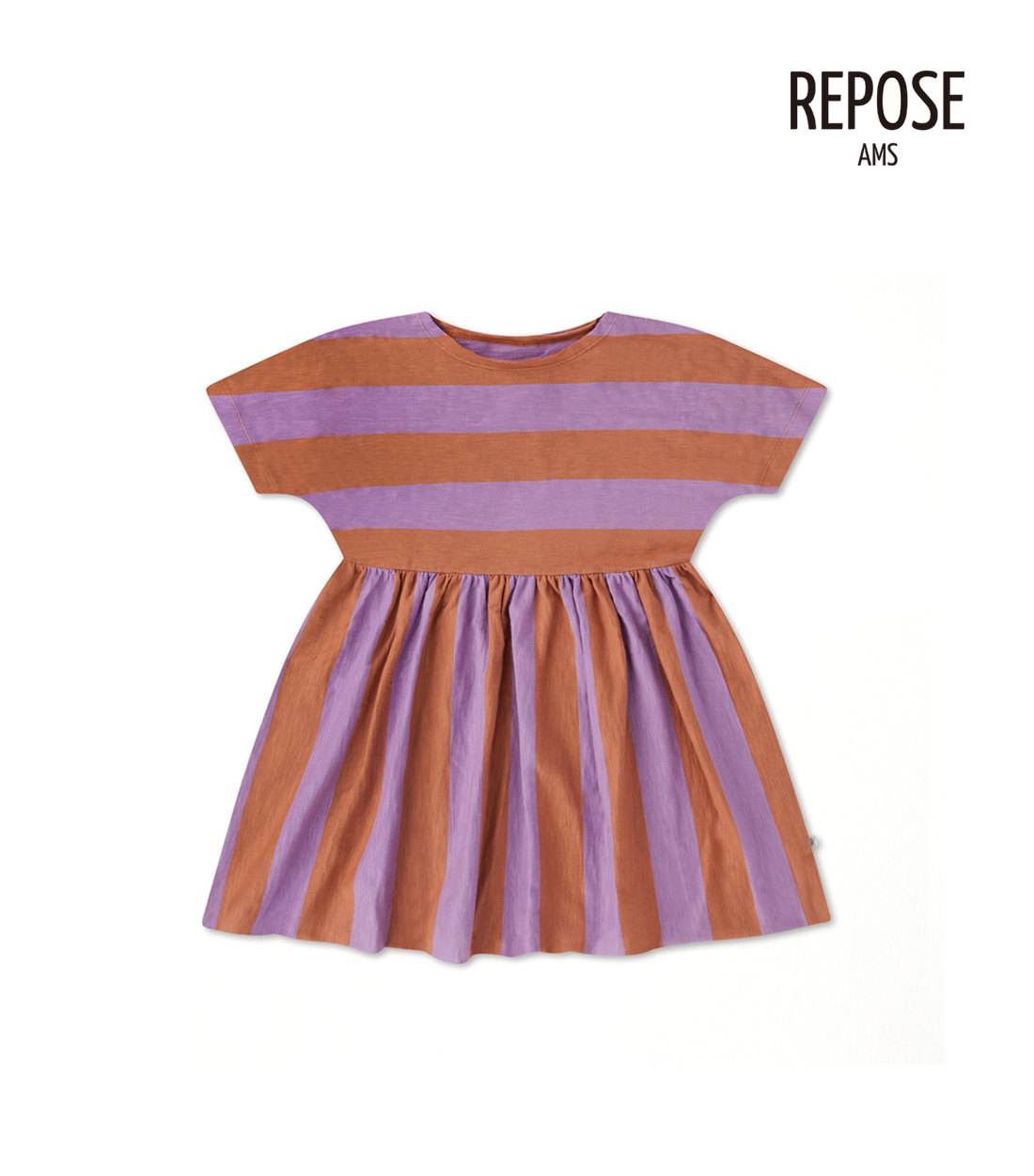 리포즈암스 RUFFLE DRESS / LILAC STRIPE