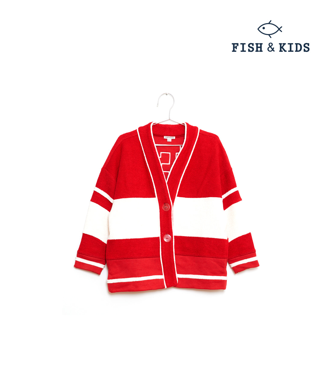 "피쉬앤키즈 ""F"" CARDIGAN / RED AND WHITE"