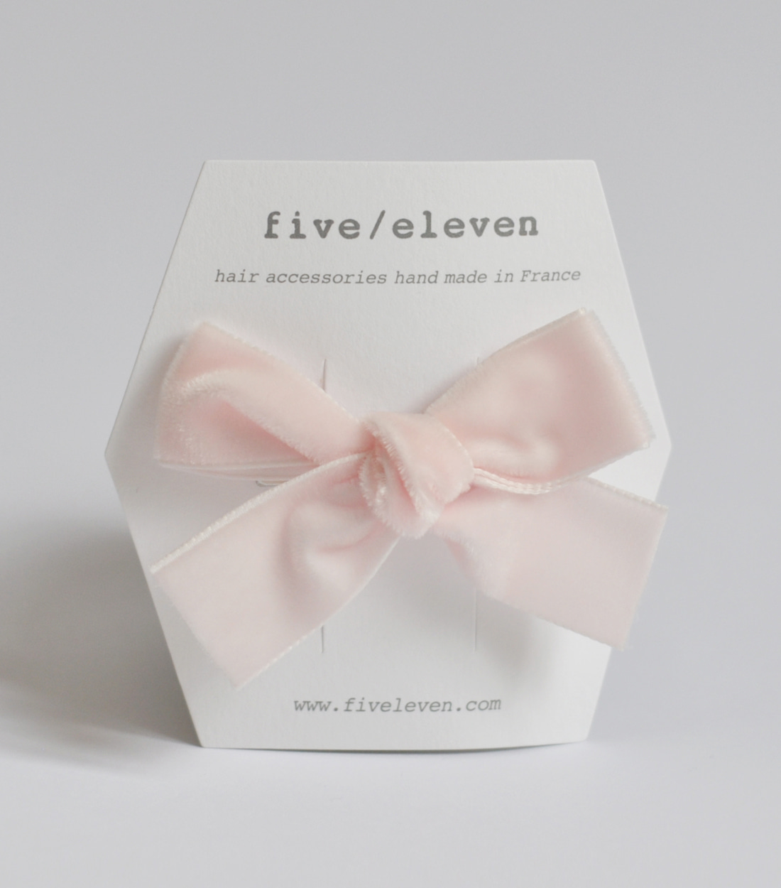파이브앤일레븐 VELVET SINGLE BOW MED / LIGHT PINK